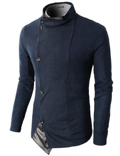 H2H Mens Unique Turtleneck Cardigan Of Asymmetric Leather Edge NAVY US L/Asia XL (KMOCAL09)