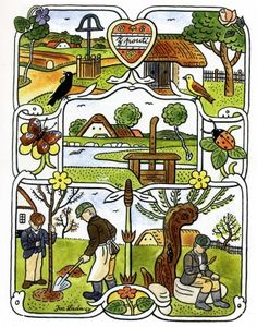 Josef Lada Kresba pro knížku F. Nechvátala Štěpnice - Léto (nerealizováno) 1947 kolorovaná kresba tuší Blue Bird, Textile Design, Illustrators, Folk Art, Preschool, The Past, Clip Art, Memories, Cool Stuff