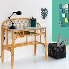 Schlafzimmer Einrichten - KOK rattan desk: Quality, durability and timeless appeal are the key features of. Cane Furniture, Home Furniture Online, Bamboo Furniture, Cheap Furniture, Furniture Design, Living Room Furniture, Furniture Stores, Thai Decor, Interior Design Living Room