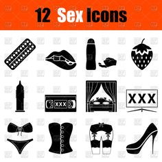 Set of sex black icons, 111345, Signs, Symbols, Maps,  Download, Royalty free, Vector, eps, clipart, jpg, images, clip art, graphics