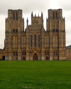 Wells Cathedral, Wells, Somerset . 1180, Gothic Architecture . Well's facade boasts England's largest array of medieval sculpture.