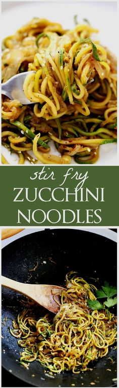 Keto and Low carb Stir Fry Zucchini Noodles – Delicious, low-carb, healthy Stir Fry made with spiralized zucchini and onions tossed with teriyaki sauce and toasted sesame seeds. Stir Fry Zucchini Noodles, Zucchini Noodle Recipes, Veggie Noodles, Recipe Zucchini, Healthy Zucchini, Making Zucchini Noodles, Shrimp Noodles, Fried Zucchini, Vegetarian Recipes