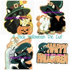 """This listing includes a series of 4 Die Cut Halloween Decorations. The same cute kitty and mouse are in all four images. These are in amazing condition. They were taken from my own collection and are from a vintage die cut decoration. They were scanned as a high quality 300 dpi jpeg file. They all measure approximately 7"""" x 10""""."""