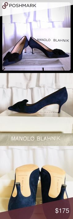 Manolo Blahnik Velvet Bow Pumps Beautiful Navy suede pumps with velvet bow. Only one time use. Very good condition. Come with box and cloth pouch. Manolo Blahnik Shoes Heels #manoloblahnikheelsbeautiful