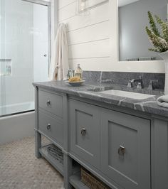 cottage style bathroom design | Cottage-style bath with a soapstone countertop. Casa Verde Design