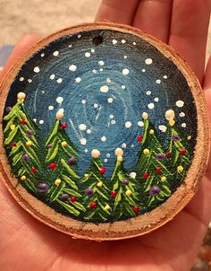 This gorgeous hand-painted Christmas tree scene wood slice ornament makes the perfect rustic addition to your Christmas tree this year! Each ornament is hand-painted with quality acrylic paint and sealed with a matte protective finish. Custom colors and bulk orders are available