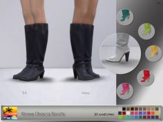 """Knee Draca BootsNew version of EA boots and another one for my project """"Make them pretty"""" :) Hope you'll like it. Enjoy!  - 30 swatches  - 2 versions - with and without shine  - new mesh (EA edit)  - maxis match  - base game compatible  - everyday, formal,..."""