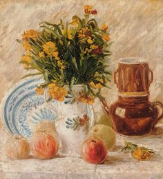 """Vincent Van Gogh """"Vase with Flowers, Coffeepot and Fruit""""  1887"""