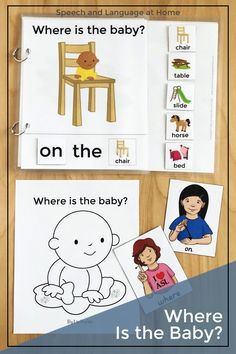 Preschoolers love learning with interactive books. Teach your students preposition words with this fun activity. Great for speech therapy, special educations and preschool classroom teachers. The black and white printables are great homework for parents. Young children are so engaged with interactive books. See where that silly baby went next. #emergingreaders #forpreschoolers Preposition Activities, Vocabulary Activities, Speech Therapy Activities, Language Activities, Preschool Activities, Preschool Classroom, Shape Activities, Daycare Curriculum, Homeschool