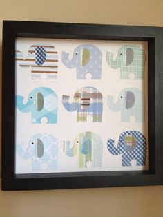 Blue Elephants 3D Paper Art perfect for your little by PaperLine, $35.00