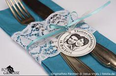 Fotogruesse: Auf die Stempel fertig los....Stempelideen für's Hochzeitsfest  Bestecktasche für Hochzeit basteln mit Fotostempel und Spitze