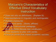 Marzano's Characteristics of Effective Direct Vocabulary Instruction <ul><li>Does not rely on definitions.  (Explain It) <...