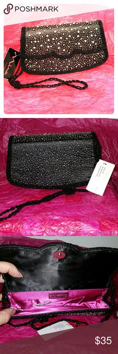 """Nina Mitsu clutch new scalloped beaded 9""""L, 5""""H, 2""""W. Strap drop is 21.5"""". Satin lining. Beaded/crystal embellished upper. Scalloped front. Sparkly rhinestones are strategically mixed with black/silver beads. New. Perfect for a night out. Nina Bags Clutches & Wristlets"""