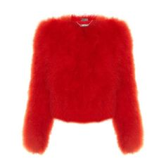 Alexander McQueen Round-neck cropped feather jacket (€1.710) ❤ liked on Polyvore featuring outerwear, jackets, alexander mcqueen, coats & jackets, red, cropped jacket, feather jackets, red cropped jacket and long sleeve jacket