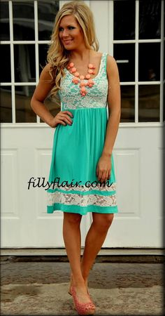 My Perfect Spring Dress - Lace and Turquoise is a wonderful conversation! Available at fillyflair.com!