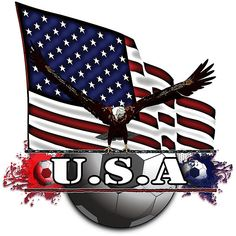Future Imaging Designs: USA Flag for Soccer with Eagle Shower Curtain: Large USA Flag with Eagle looking down at the USA logo with Red, White & Blue colors and soccerballs creating Red and Blue splashes and splatters. Go Usa, Usa Flag, Red White Blue, 4th Of July Wreath, Eagle, Soccer, Future, Blue Colors, Logo
