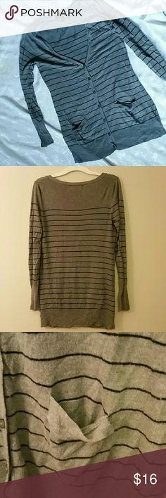 Mossimo grey/black striped boyfriend cartigan med. Cartigan has 7 buttons and 2 front pockets. Size medium. EUC Mossimo Supply Co Sweaters Cardigans