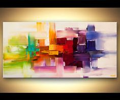 abstract pallette knife painting | ... -Contemporary-Abstract-Painting-Canvas-Colorful-Palette-Knife-Osnat