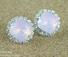 Pink earrings Pink crystal earringsPink opal by EndoraJewellery, $42.00