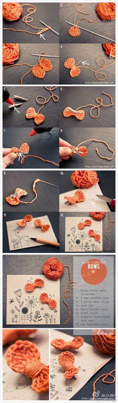 Crochet a bow and maybe sew it on a headband ❁•Teresa Restegui http://www.pinterest.com/teretegui/•❁