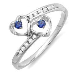 0.15 Carat (ctw) Sterling Silver Round Blue Sapphire & White Diamond Ladies Bridal Double Heart Promise Ring - Dazzling Rock #https://www.pinterest.com/dazzlingrock/