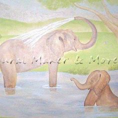 safari mural in baby boys room, home decor, painting, Mama baby elephant taking a bath