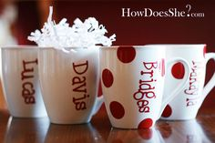 Dollar store mugs decorated with vinyl cut outs-- craft to put on my to do list.  HowDoesShe.com