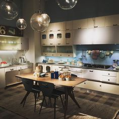 Pick of the day. Retro concept kitchen @eurocucina2016 Which was your favorite stand? TAG your favorite kitchen design from the fair. #milandesignweek #eurocucina