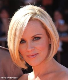 Classic A-Line Bob    Jenny McCarthy made a fantastic choice when she chopped of her long hair and chose this extremely cute, face framing bob hairstyle. This is a classic bob that many women will find flattering no matter what face shape they have. Here she does a center over parting and brushes the ends toward the face. When it comes to bobs, the majority of styles will be similar to this one with some minor differences in the cut and style.
