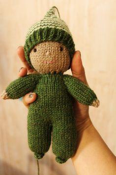 Acorn the Elf knitting pattern PDF Waldorf style doll by Yarnigans