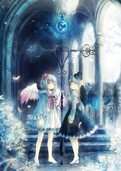 Anime Angels white one the the one who has seen much loss and doesn't want to give a sh** anymore, while the black one is a newborn angel or the type that hides evilness under innocence like a bi**h.