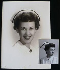 Vintage photo of pretty nurse