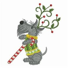 Christmas Scottie Dog embroidery design
