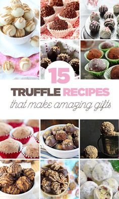 15 Truffle Recipes That Make Amazing Gifts! - Miranda @ Cookie Dough & Oven Mitt - 15 Truffle Recipes That Make Amazing Gifts! 15 Truffle Recipes that Make Amazing Gifts - Candy Recipes, Holiday Recipes, Cookie Recipes, Dessert Recipes, Oven Recipes, Homemade Truffles, Homemade Candies, Homemade Gifts, No Bake Truffles