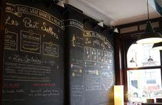 Création du menu sur l'ardoise du restaurant APDM à Bruxelles, direction artistique : Iona Suzuki, illustrations Éléonore Ampuy.