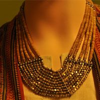 Metal chunky beads neck piece(10 strings) strung with dull beige beads (Bastar region, MP)
