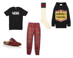 """Lazy pajama day"" by pandabear1012 on Polyvore featuring Vans, Gucci, men's fashion and menswear"