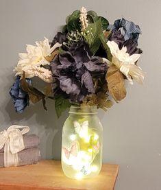 Rustic Home Decor, Mason Jar vase, lighted jar, Farmhouse Decor, Rustic Decor, butterfly vase, Mason Jar Decor, bathroom docor,