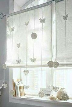 Fancy Curtains, Curtains And Draperies, Crochet Curtains, Hanging Curtains, Kitchen Curtains, Drapes Curtains, Rideaux Design, Crochet Home Decor, Curtain Designs