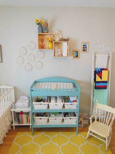 a blue + yellow nursery #embroideryhoopart #anniesloan #provence