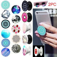 2PC Universal PopSocket Grip Style Phone Holder Stand Tablet Case Car For Iphone