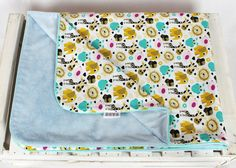 Minky Baby Blanket for Girl and Boy Blue Animal zoo  Nuva