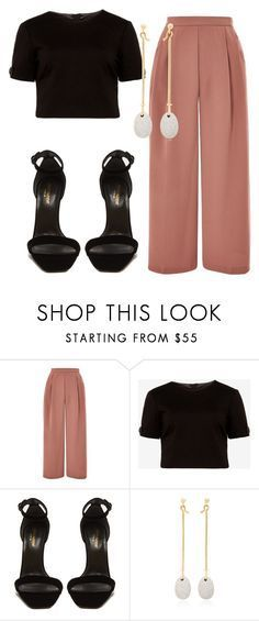 """""""Sem título #8473"""" by ana-sheeran-styles ❤ liked on Polyvore featuring Topshop, Ted Baker, Yves Saint Laurent and Georg Jensen #partyoutfits"""