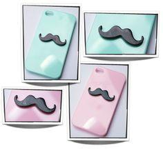 Mintgroene en licht roze hoesjes met een zwarte snor voor een iphone 4/4S. €4,50 p.s www.oohlala.nl