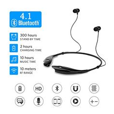 SoundPEATS Bluetooth Headphones Stereo Neckband Wireless Headset Sport Earbuds with Mic for iPhone 7 iPhone 7 Plus (10 Hours Play Time, Bluetooth 4.1, CVC 6.0 Noise Cancelling)-Black