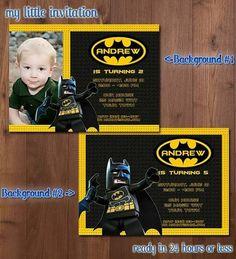 Batman birthday party invitation digital printable file batman lego batman photo invitation filmwisefo