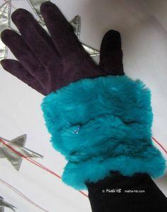 Sleeve cuffs blue turquoise Nil wrist warmers fake fur