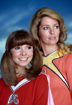 """Deidre Hall and Judy Strangis as """"Electra Woman and Dyna Girl"""", The Krofft Supershow (USA, 1976-78)."""