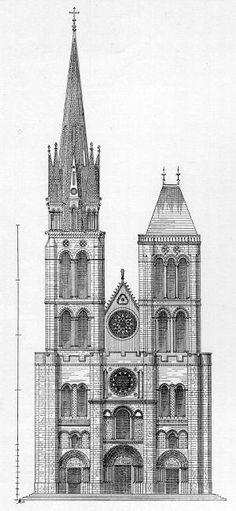 St Denis / Reconstruction of West Facade By Viollet-le-Duc With Gothic North Tow… – Gothic Cathedrals - architecture house Gothic Architecture Drawing, Monumental Architecture, Cathedral Architecture, Plans Architecture, Sacred Architecture, Vernacular Architecture, Historical Architecture, Architecture Design, Gothic Drawings