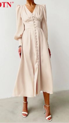 Women's A Line Dresses, Elegant Midi Dresses, Beige Dresses, Pretty Dresses, Dresses Dresses, Long Casual Dresses, Elegant Dresses For Women, Dresses For Winter, Beige Dress Outfit